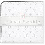SwaddleDesigns Ultimate Swaddle Blanket, Made in USA Premium Cotton Flannel, Taupe Gray Sparklers