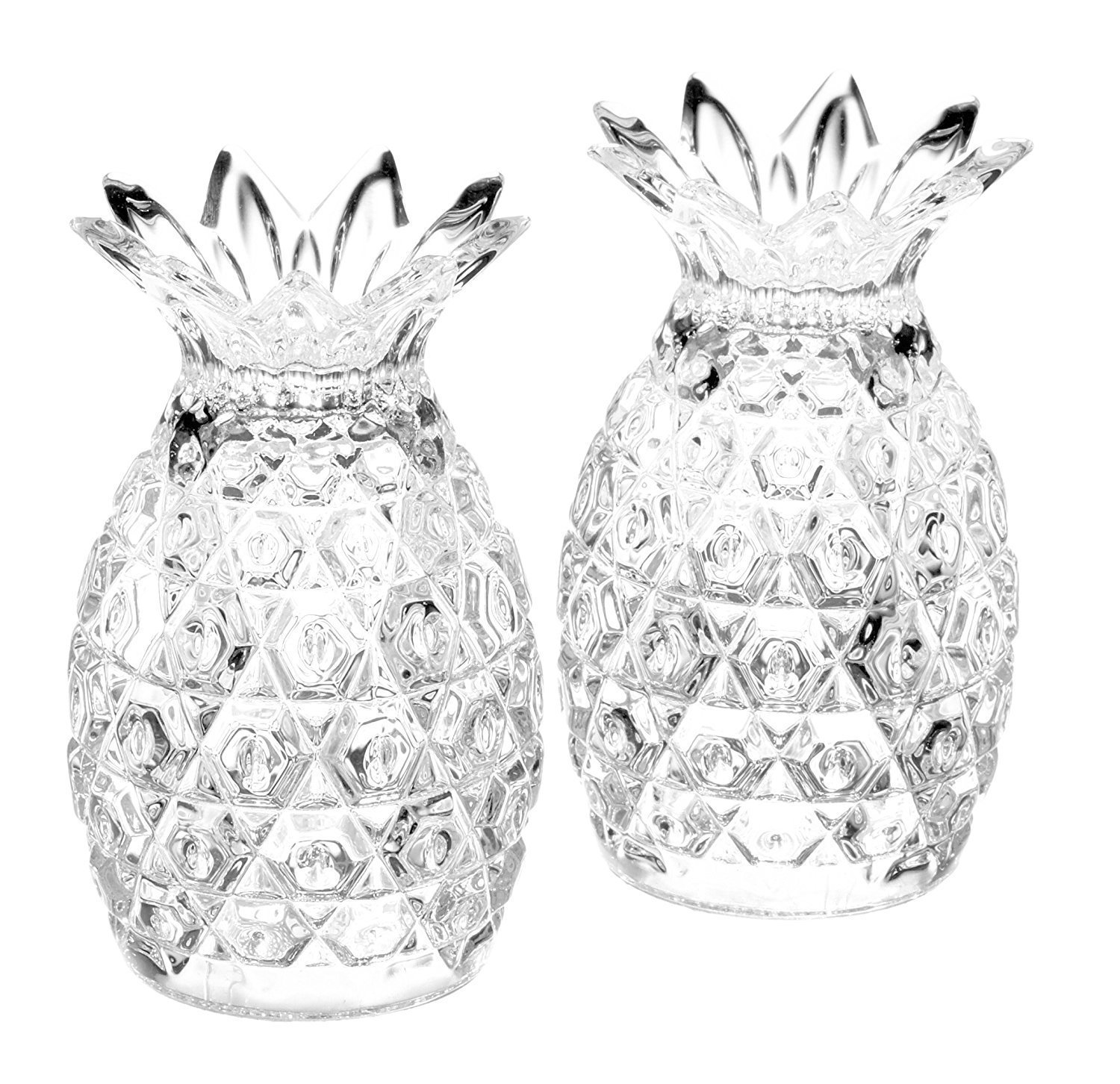 King International 100% Crystal Glass diamond cut Salt and Pepper | Set of 2 Pieces 8 cm | with Sturdy stopper |