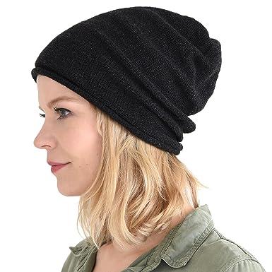 CHARM Mens Slouchy Beanie Winter - Womens Wool Knit Hat Warm Baggy Japanese  Cap Black 40ec6a26831