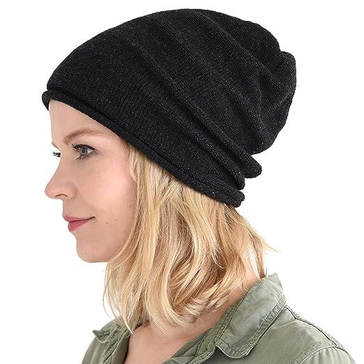 CHARM Mens Slouchy Beanie Winter - Womens Wool Knit Hat Warm Baggy Japanese  Cap Black f6f734ea75d0