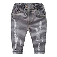 MMWORM Baby Boy Cotton Blue Grey Wash Denim Stretch Waistband Open Crotch Jeans