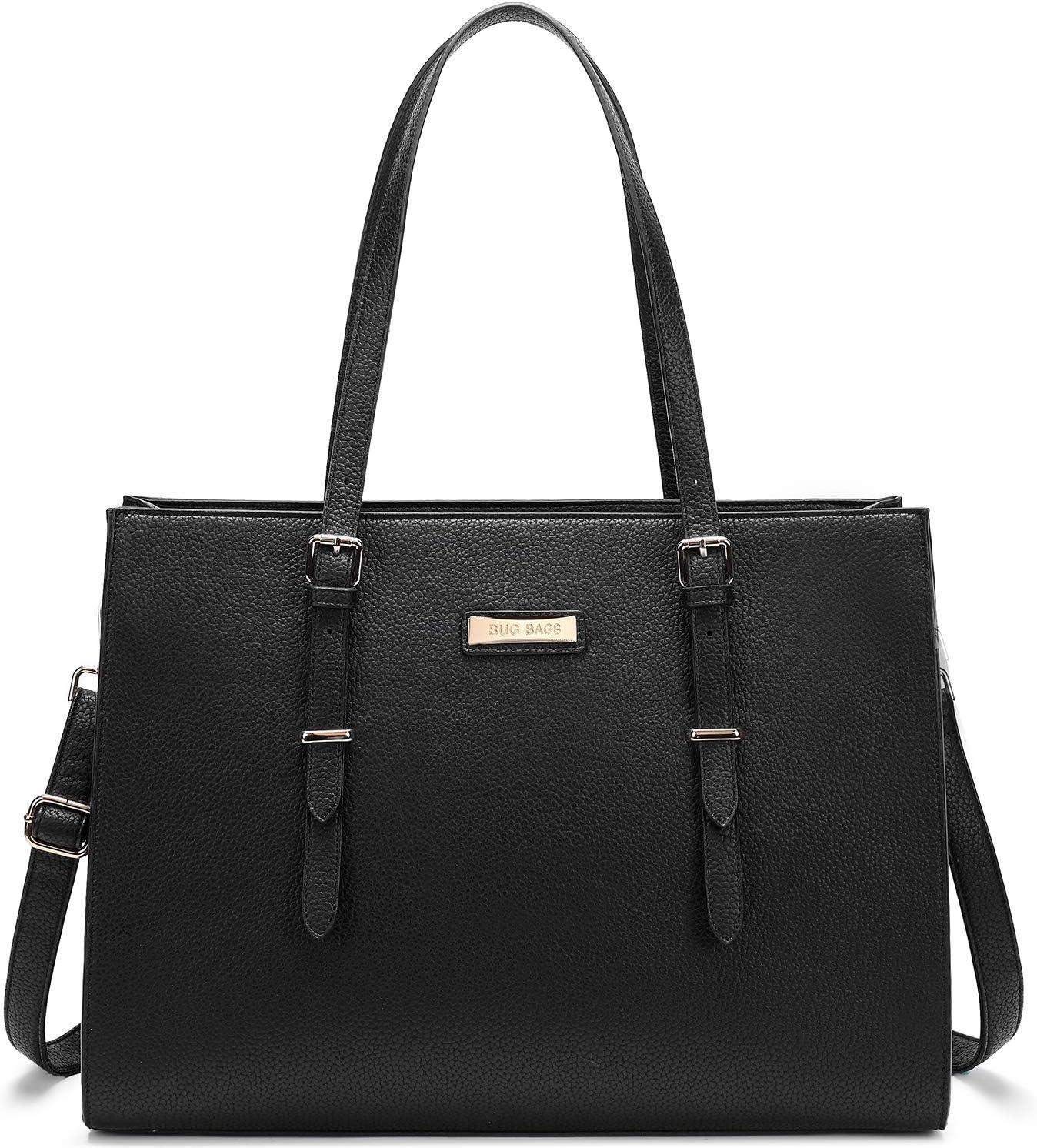 BUG Laptop Tote Bag Laptop Bag for Women Leather 15.6 Inch Large Tote Waterproof Lightweight Handbag Shoulder Bag Travel Business Office Work Bag Classic Black
