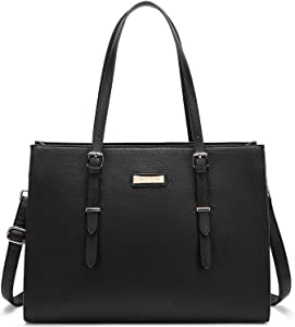 BUG Laptop Tote Bag Laptop Bag for Women Leather 15.6 Inch Large Tote Waterproof Lightweight Handbag Shoulder Bag Travel Business Office Work Bag Classic Black