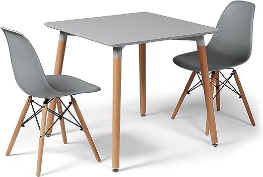 Juego de comedor gris diseño Eiffel con 2 sillas y pequeña mesa ...