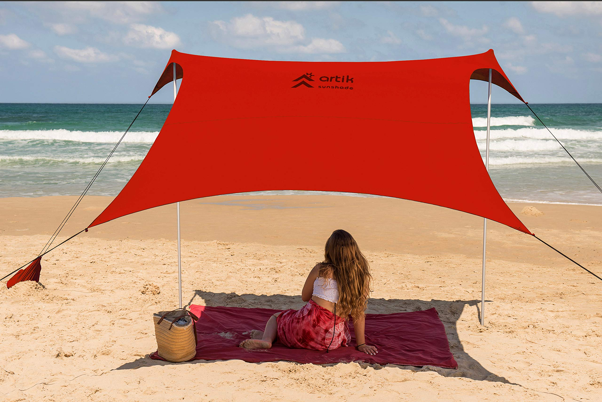 Beach Tent Sunshade Family Size 9.8'X9.8', 7ft Tall with Sandbag Anchors, Simple & Versatile. SPF50, Lycra SunShelter for The Beach,Camping and Outdoors. (red, Medium) by ARTIK SUNSHADE