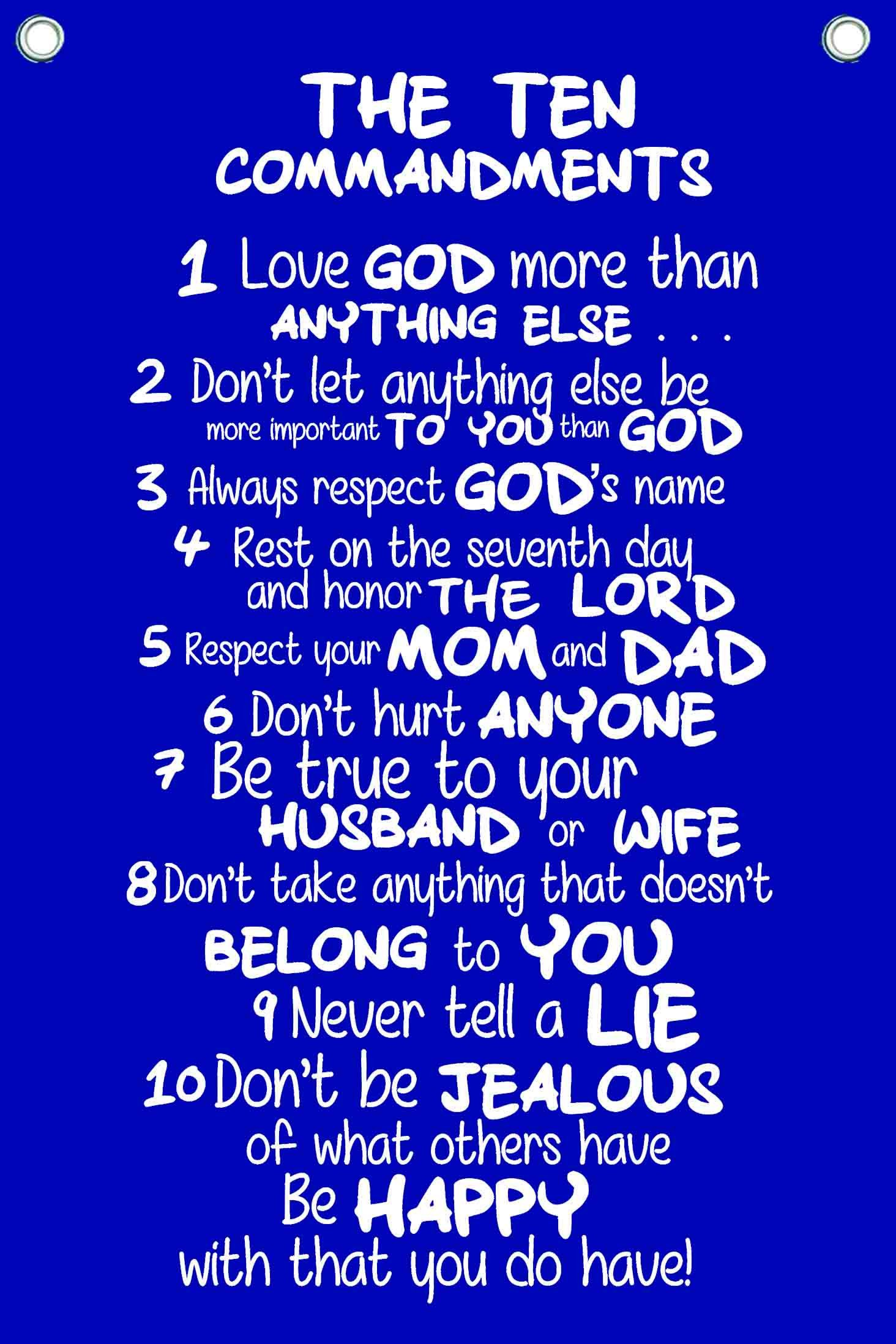 The Ten Commandments for Kids - Wall Quotes Canvas Banner - In Navy Blue - 12'' Wide By 18'' High