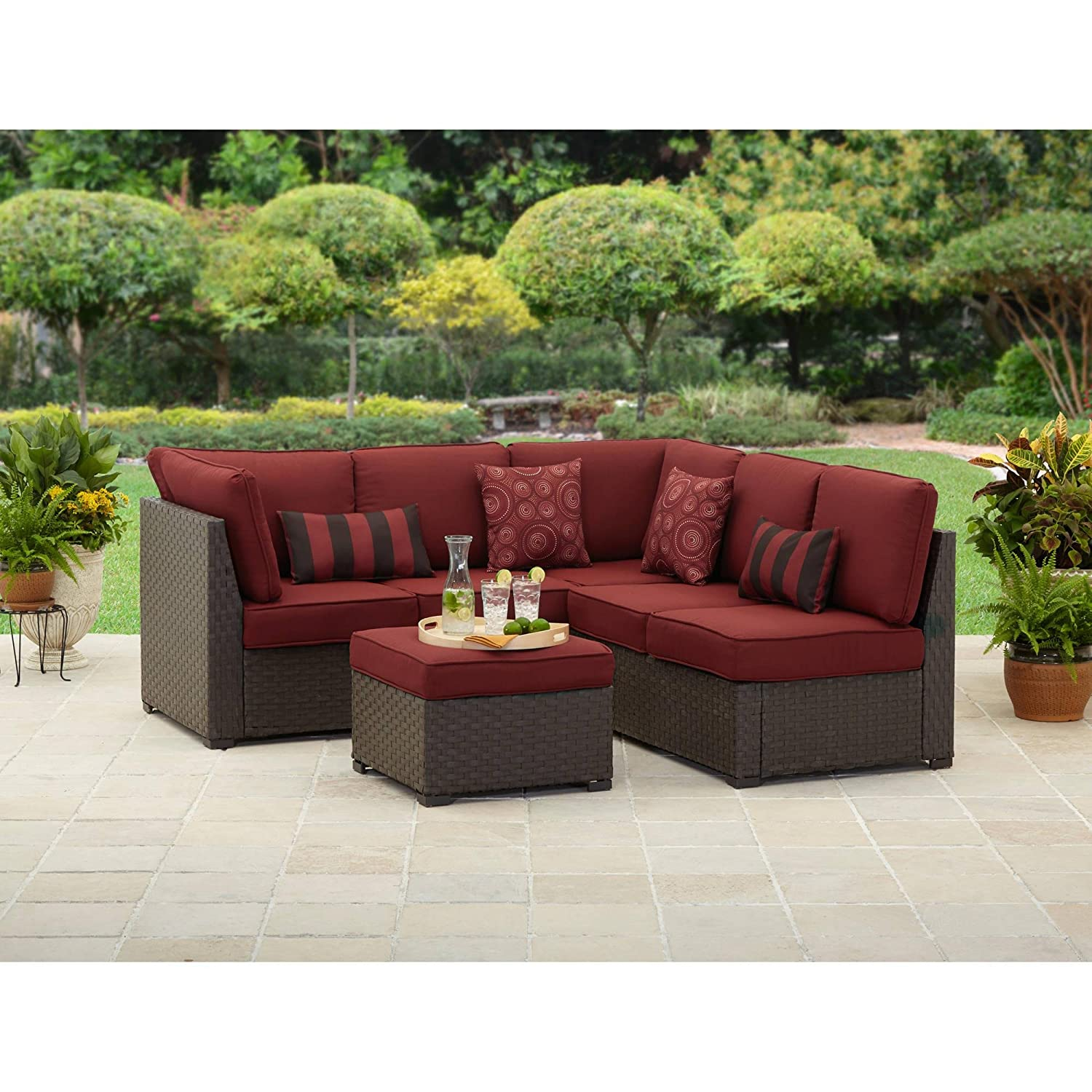 Captivating Amazon.com : Rush Valley 3 Piece Outdoor Sectional Sofa Set, Red, Seats 5 :  Outdoor And Patio Furniture Sets : Garden U0026 Outdoor
