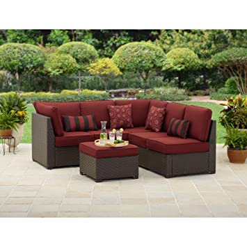 Rush Valley 3 Piece Outdoor Sectional Sofa Set, Red, Seats 5