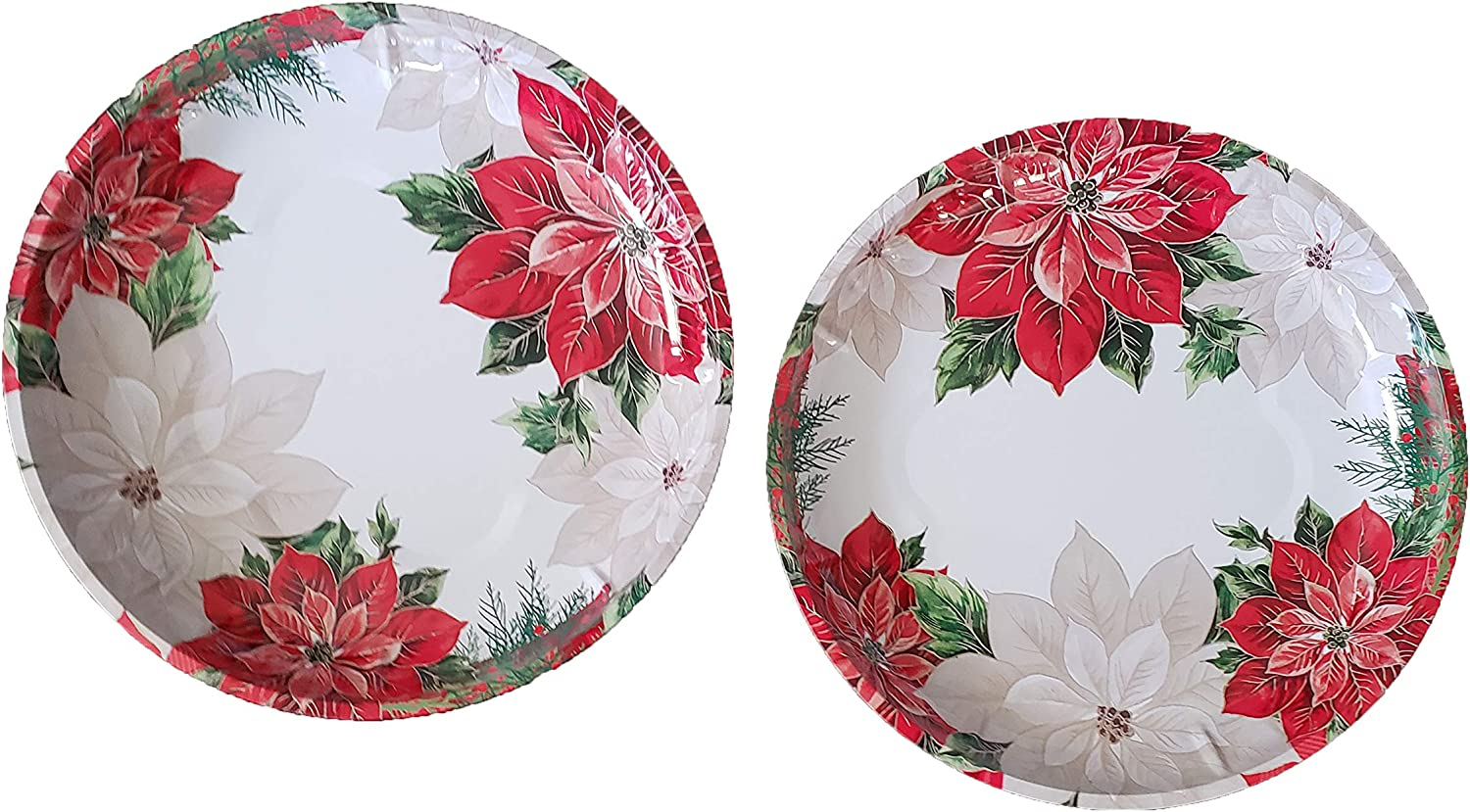 Festive Christmas Holiday Poinsettia Printed Round Tin Serving Trays, 10 in. - 2 CT