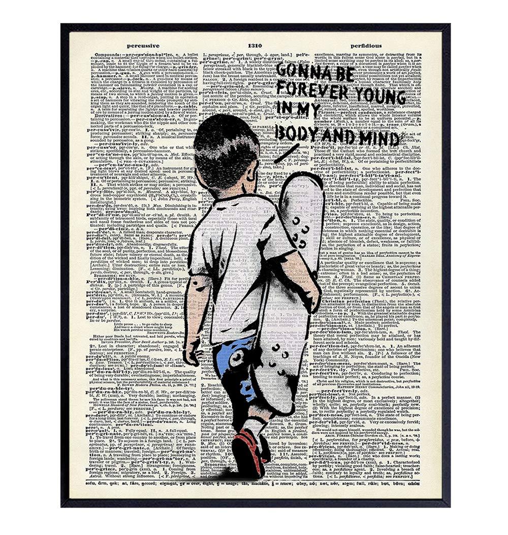 Banksy Skateboard Motivational Upcycled Dictionary Wall Art - Inspirational Graffiti, Urban Street Art Poster Print - Home Decor for Nursery, Kids or Boys Room - Great Gift - 8x10 Photo