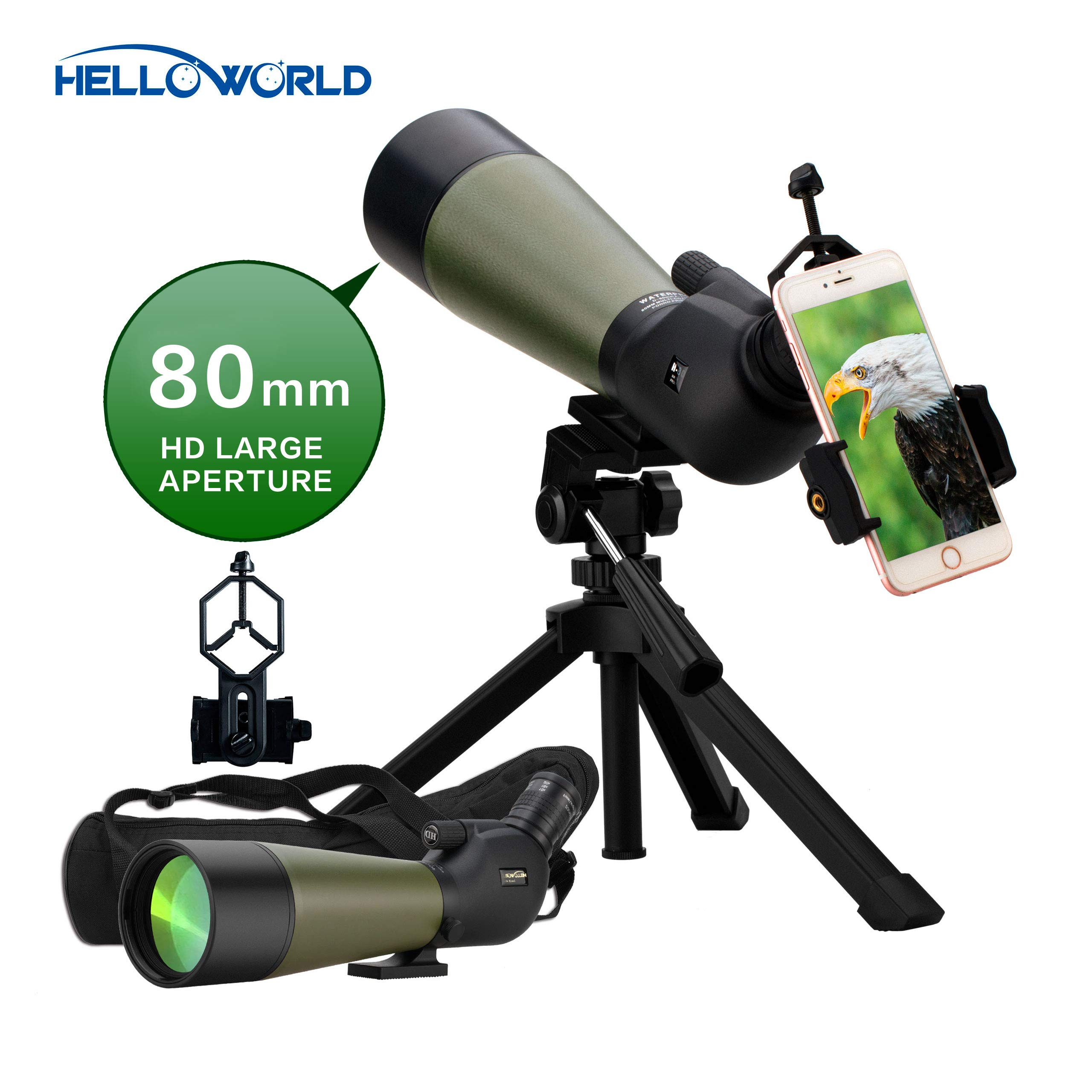 World Optical 20-60X80mm Prism Spotting Scope 100% Waterproof Spotting Scopes with Tripod Phone Adapter Bag-45 Degree Angled 25mm Big Eyepiece Spotting Scopes for Target Shooting Hunting Bird Watching