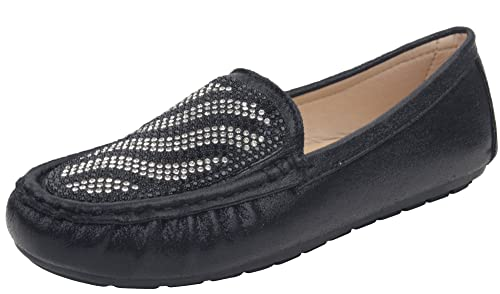 edfdd76793 Enimay Women s Casual Dress Fashion Crystals Metallic Slip On Loafer Flats  Shoes Black 5.5
