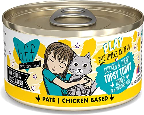 B.F.F. Play – Best Feline Friend Pate Lovers aw Yeah Grain-Free Natural Wet Cat Food Cans, Chicken Pate Recipes