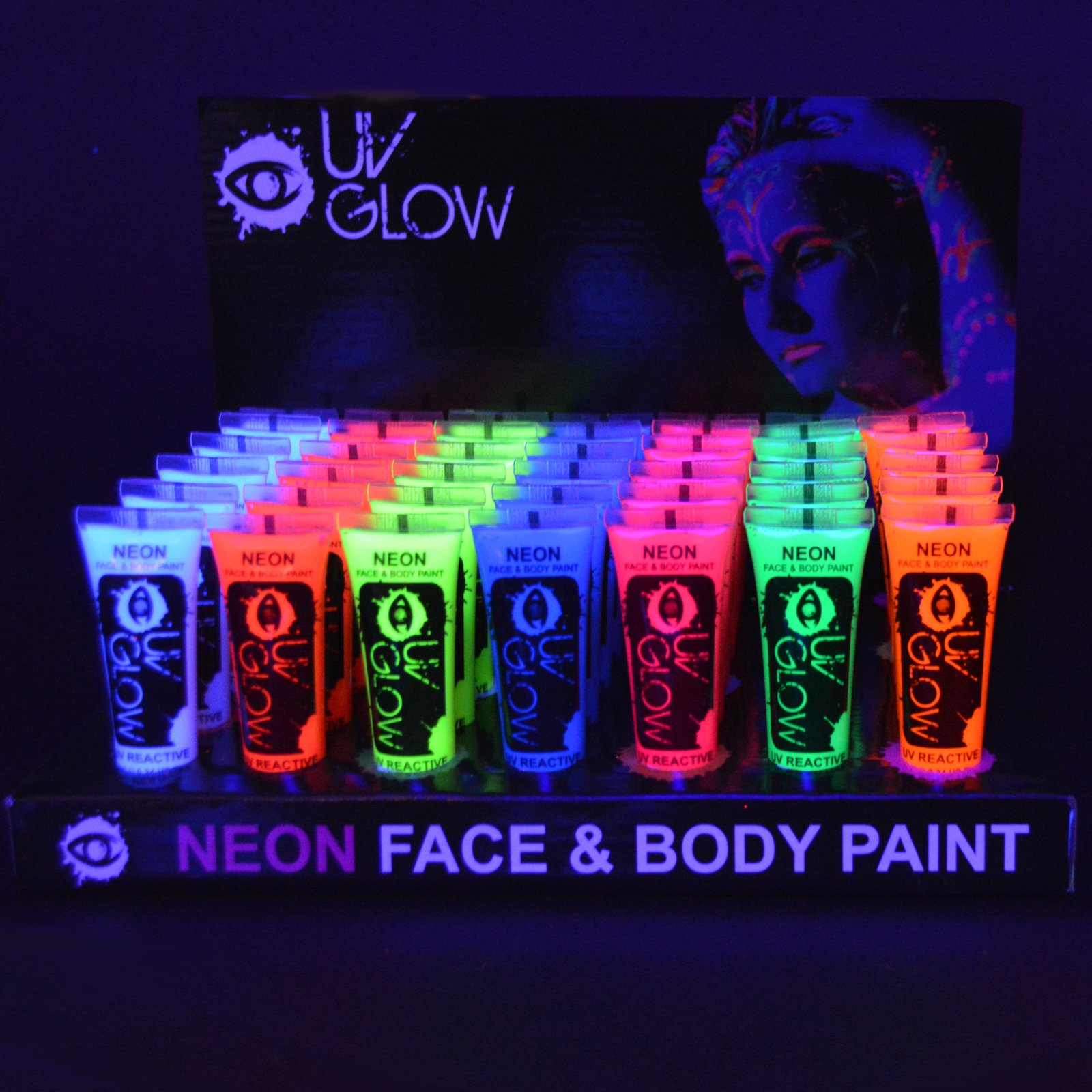 UV Glow Blacklight Neon Face and Body Paint - 0.34oz Case of 240 Resale Wholesale