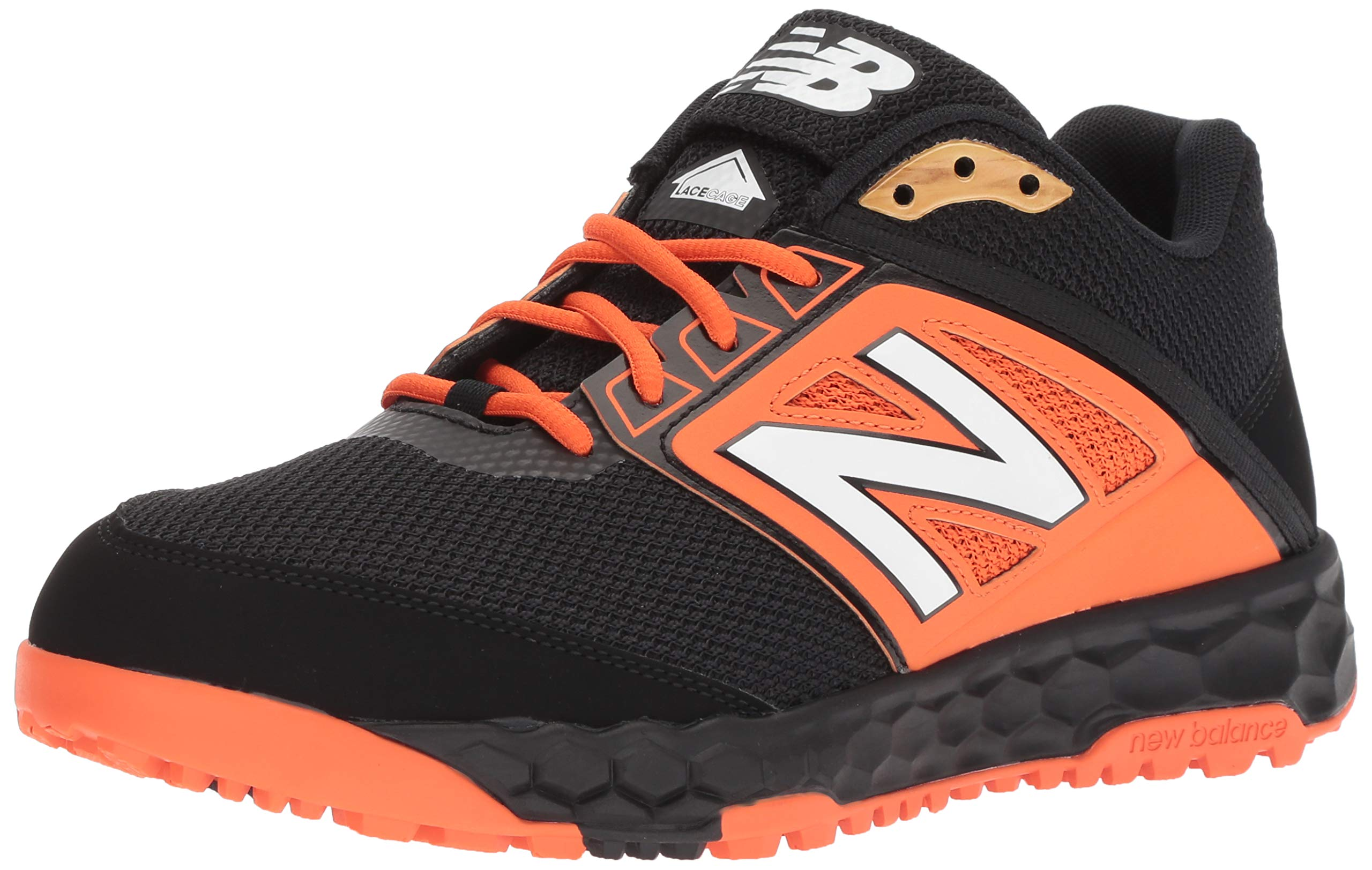 New Balance Men's 3000v4 Turf Baseball Shoe, Black/Orange, 5 D US