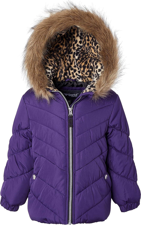 Sportoli Girls Winter Solid Puffer Bubble Jacket Coat Fleece Lined Fur Trim Hood