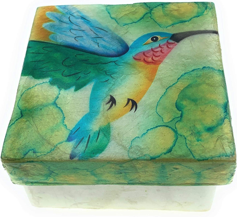 Kubla Craft Hummingbird in Flight Capiz Shell Keepsake Box, 3 Inches Square