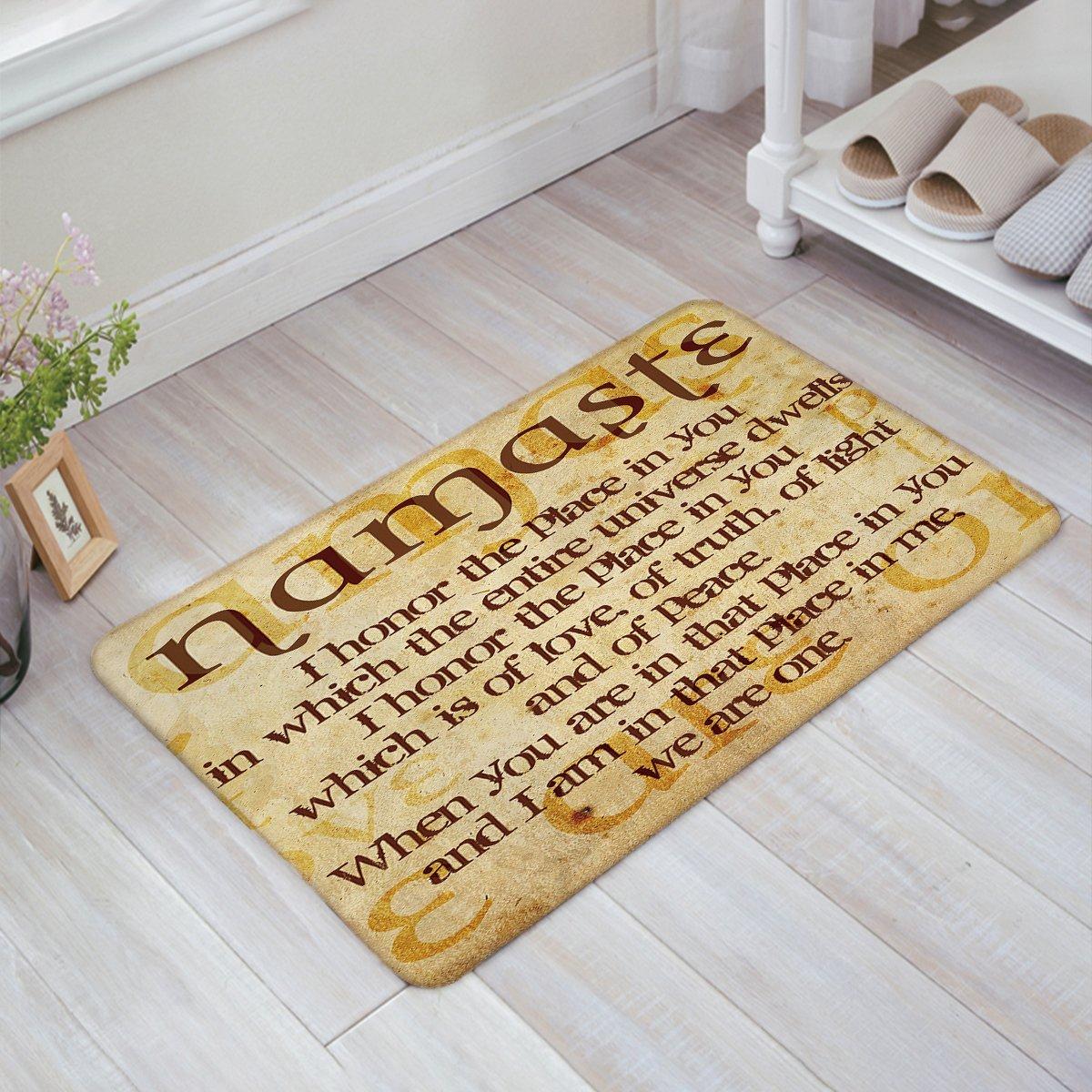 WomenFocus Entrance Welcome Door Mat Namaste Quote Christian Faith Indoor Shoe Scraper Doormat Floor Rugs for Front Door/Kitchen/Bathroom Non Slip, 32''x20''