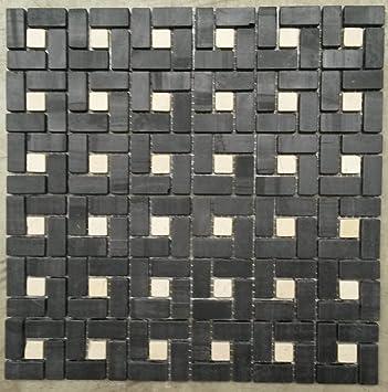 Naturstein Matte Fliesen 30x30 Cm 8 Mm Mosaik Schwarz Weiss Mix