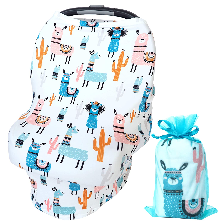 Bundled Joy Baby Gifts - Baby Car Seat Cover Canopy Breastfeeding Nursing Cover Infinity Scarf Stretchy Soft Boys Girls Gender Neutral (Llama White)