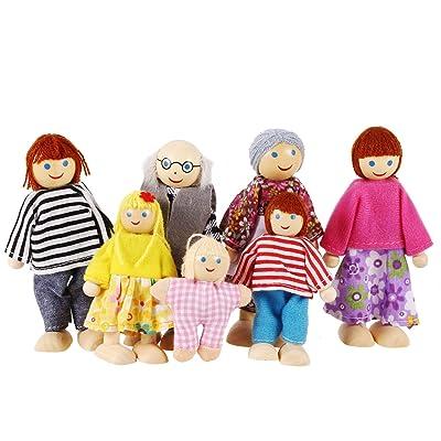 Smibie Muñecos de Juguete Conjunto de Familia Feliz de Siete Personas de Madera para Niños: Juguetes y juegos