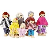 Smibie Felice Famiglia di Bambole di Legno Set di 7 Pupazzi con Buona Mobilità