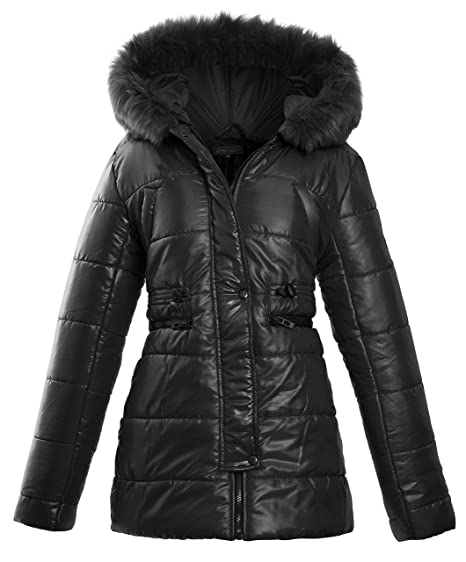 5f0e31608 Womens Ladies Faux Fur Hooded Padded Quilted Longline Zip Up Puffer Collar  Jacket Coat Size 8 10 12 14 16