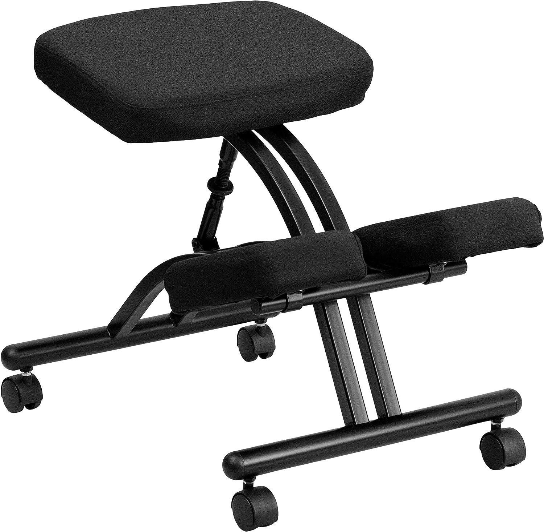 Flash Furniture Mobile Ergonomic Kneeling Office Chair in Black Fabric