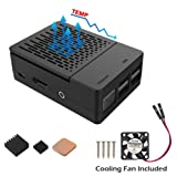 Raspberry Pi 3 Case, iUniker Raspberry Pi Fan ABS Case With Cooling Fan, Raspberry Pi Heatsink, Simple Removable Top Cover for Raspberry Pi 3/ 2 B+ (Black)
