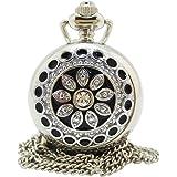 [モノジー] MONOZY ネックレス 時計 ふた付き 鏡付き ペンダント 懐中時計 花宝石 収納袋 アンティーク 風