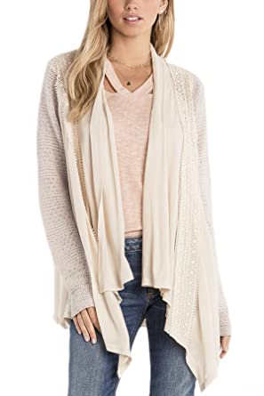 Miss Me MDJ404L Cream Open Front Crochet Lace Cardigan at Amazon ...