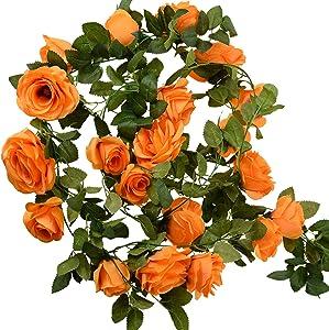 FiveSeasonStuff 29 Ft 4 Pack Rose Silk Flower Garland Artificial Flowers Decoration Hanging Floral Décor for Wedding Baby Shower Birthday Party Garden (Mandarin Orange)