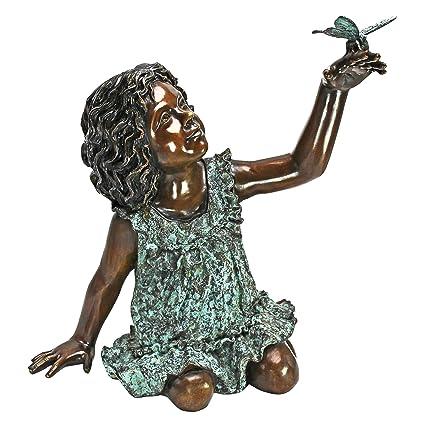 Design Toscano Butterfly Wonder, Little Girl Cast Bronze Garden Statue