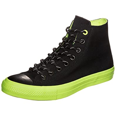 13daa82f50f Image Unavailable. Image not available for. Color  Converse Chuck Taylor II  All Star Hi High Top Sneaker Black Neon Volt ...