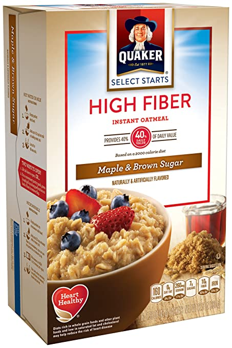 Com Pack Of 4 Quaker Instant Oatmeal High Fiber Select Starts Maple Brown Sugar Breakfast Cereal 1 58oz 8 Packets Per Box