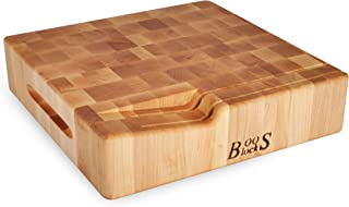 product image for John Boos Block WAL-CCB121203-H Maple Wood End Grain Chopping Block with Slotted Knife Holder, 12 inches Square, 3 inches thick