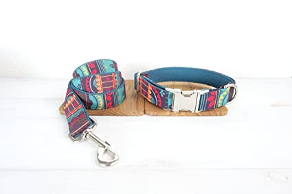 Mew Style Design, Pattern Dog Ring, Color Pattern Cloth Traction Set, Metal Dog