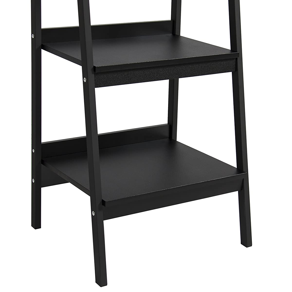 Best Choice Products Set of 2 4-Shelf Modern Open Wooden Ladder Bookcase Storage Display Organizer Decor w/ Metal Framing - Black