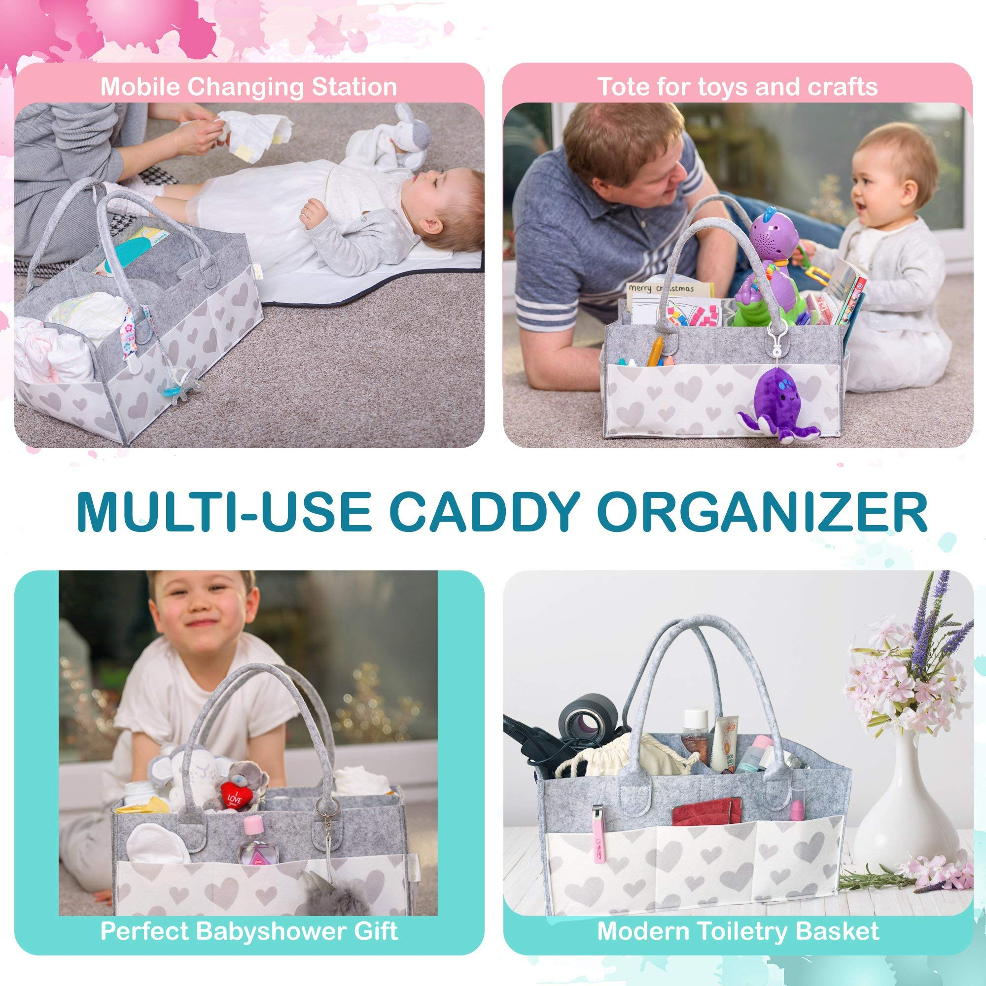 Baby Diaper Caddy and Toy Storage Basket | Portable Diaper Bag for Infants, Boys and Girls | Extra Sturdy & Large Nursery Organizer | Perfect Baby Shower Gift | Baby Registry Must Haves by Littlegem4U (Image #7)