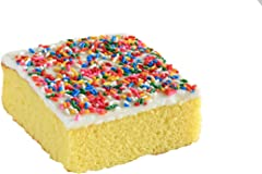 Our Specialty Yellow Square Cake Slice with Vanilla Icing, Frozen, 6 oz