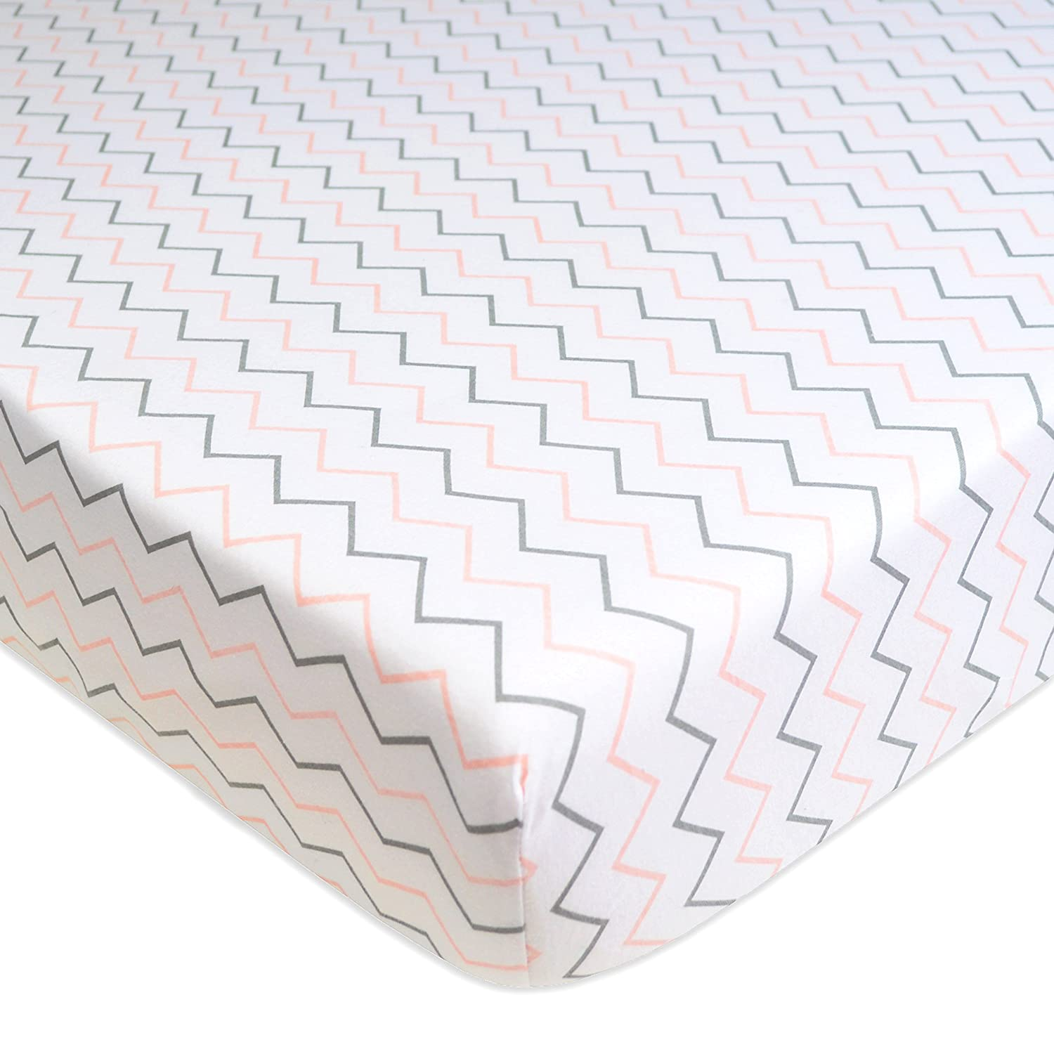 American Baby Company Printed 100% Cotton Jersey Knit Fitted Crib Sheet for Standard Crib and Toddler Mattresses, Pink Zigzag, for Girls