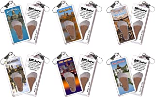 product image for Des Moines FootWhere Zipper-Pulls. 6 Piece Set. Authentic Destination Souvenir acknowledging Where You've Set Foot. Genuine Soil of Des Moines Inside Foot Cavity. Made in USA
