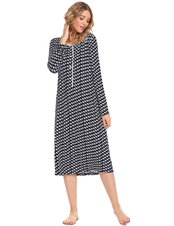 Goldenfox Women's Cotton Sleepwear Long Sleeve Nightgown Night Dress S-XXL