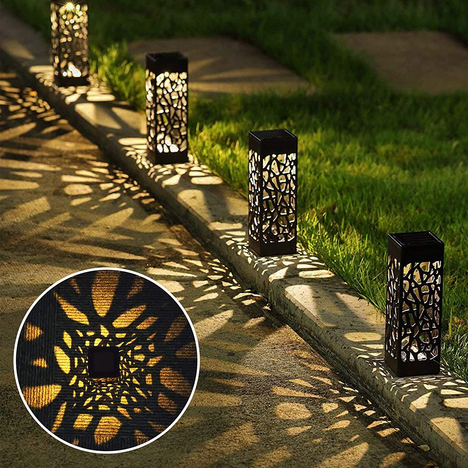 Solar Pathway Lights Outdoor, Solar Garden Path Lights with Upgraded Solar Panel Landscape Decoration for Walkway Yard Lawn Driveway Patio, 8 Pack Warm Light