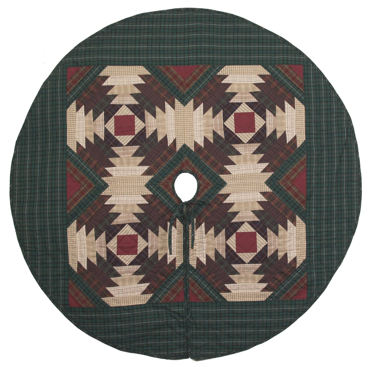 Pineapple Log Cabin Quilted Christmas Tree Skirt 60 Inches Round 100% Cotton Handmade Hand Quilted Heirloom Quality