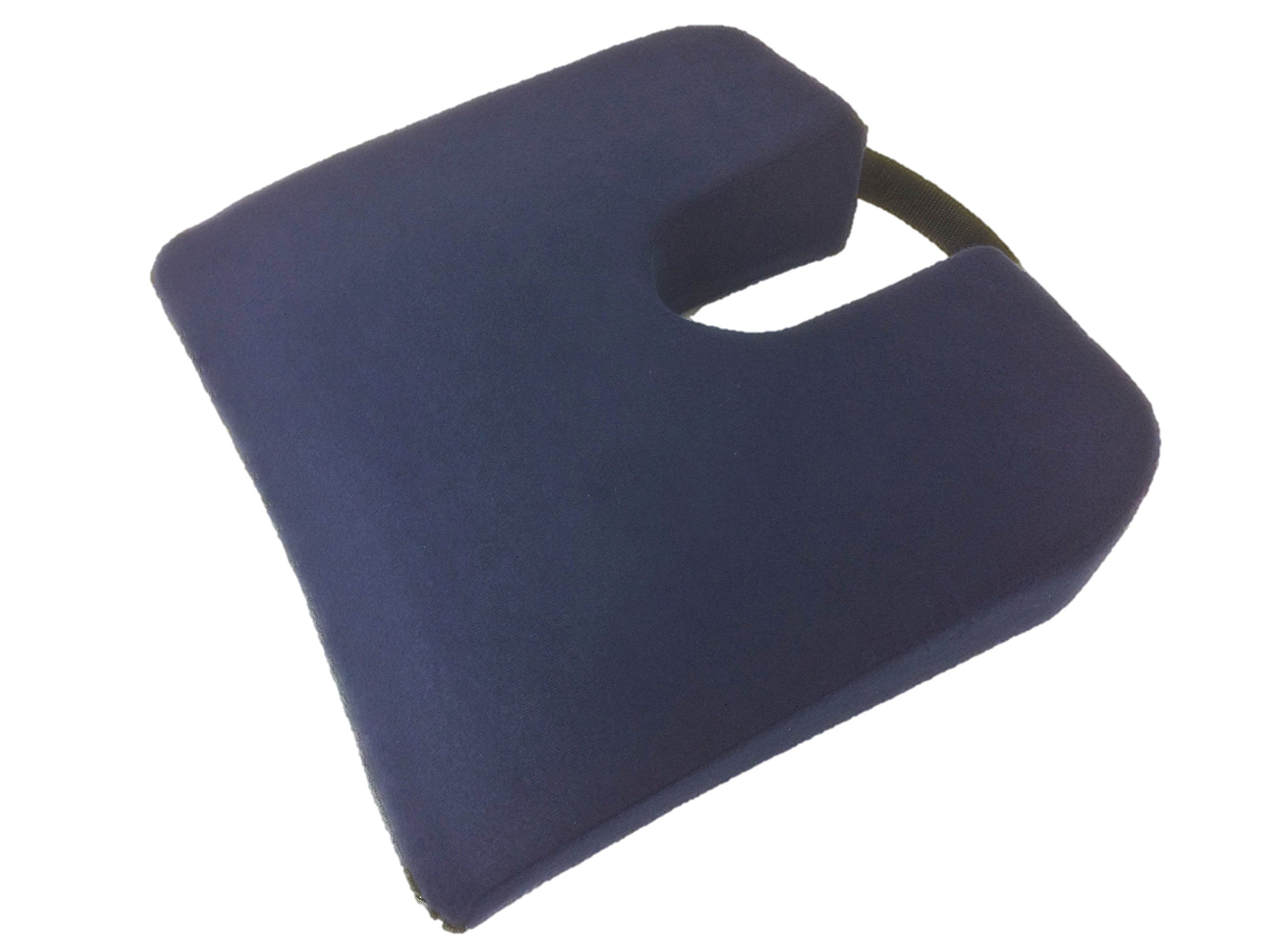 Geneva Healthcare Travel Sloping Coccyx Cushion with Handle - 15'' x 13.5'' x 3''>1'' - 1/EA