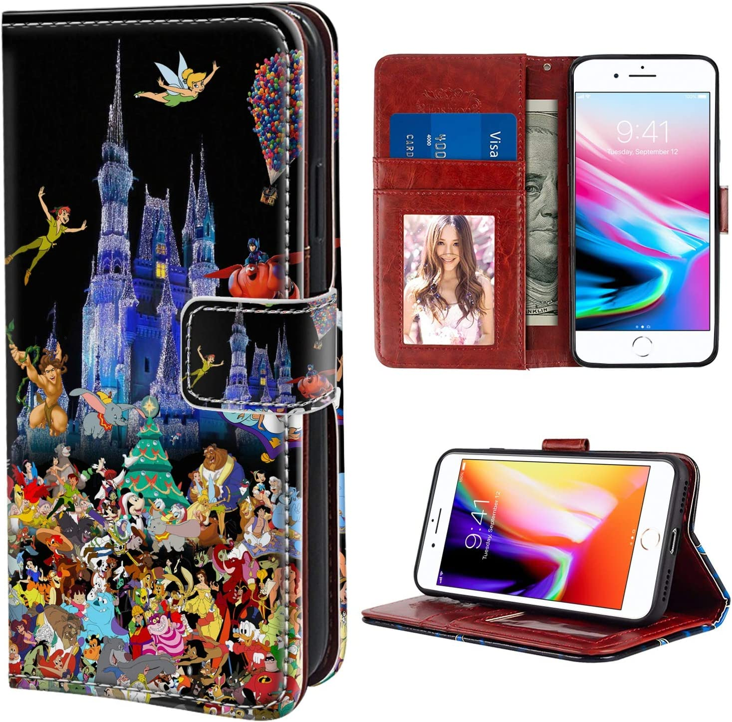 iPhone 8 Plus & iPhone 7 Plus 5.5 Inch Wallet Case Disney Castle All Characters