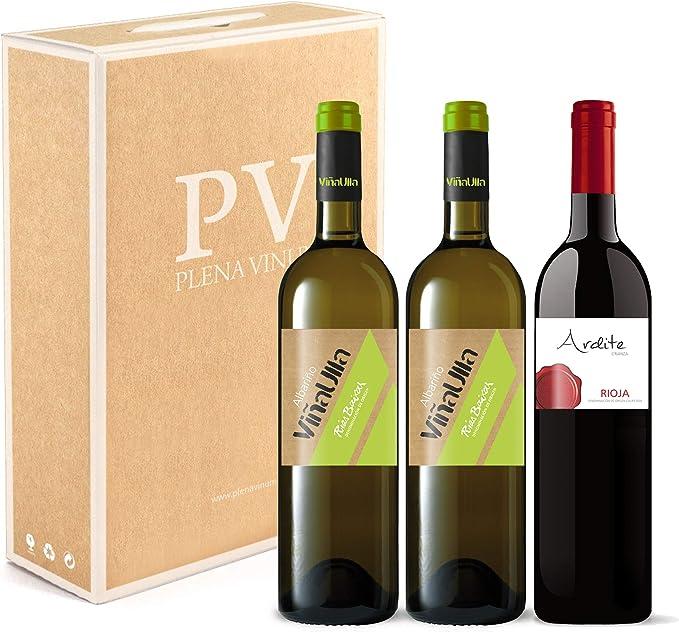 Vino blanco Rias Baixas 100% Albariño Gallego cosecha 2019/ Vino tinto Rioja crianza 100% Tempranillo cosecha 2016. Estuche 3 botellas (2 ViñaUlla+1 Ardite). Excelente pack mixto.: Amazon.es: Alimentación y bebidas