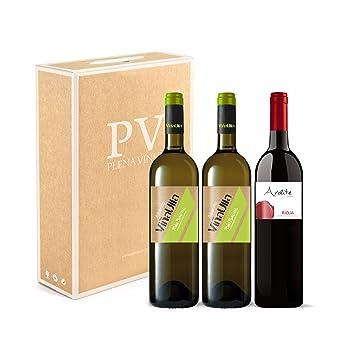 Vino blanco Rias Baixas 100% Albariño Gallego dulce afrutado/Vino tinto Rioja crianza 100% Tempranillo. Estuche 3 botellas (2 ViñaUlla Rías Baixas + 1 ...
