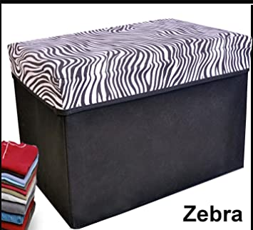 Amazoncom Collapsible Storage Ottoman Rectangle Shape Zebra